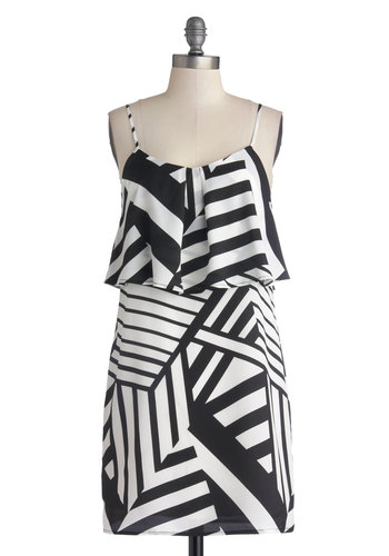 Back from Vacation Dress - Mid-length, Woven, Black, White, Print, Ruffles, Casual, Shift, Spaghetti Straps, Good, Scoop, Tiered