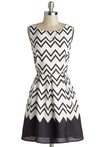 Interviews At The Party Dress in Black - Chiffon, Woven, White, Black, Chevron, Party, A-line, Sleeveless, Good, Work, Variation, Mid-length
