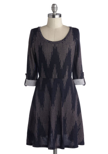Charismatic Electricity Dress - Knit, Mid-length, Grey, Chevron, Casual, A-line, 3/4 Sleeve, Good, Scoop, Blue, Fall, Winter