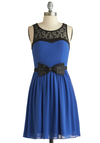 Truth of the Flatter Dress - Blue, Black, Bows, Lace, Party, A-line, Sleeveless, Scoop, Exclusives, Mid-length, Sheer, Woven