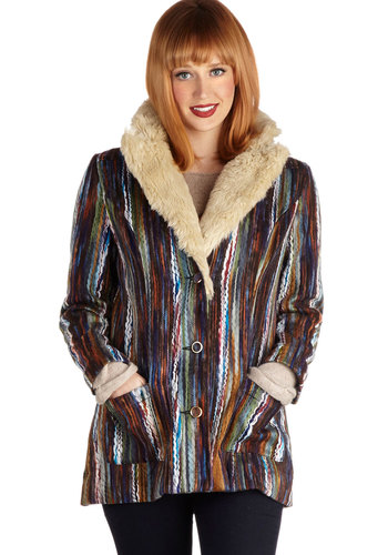 It's All Happening Coat by Mink Pink - Mid-length, Multi, Buttons, Pockets, Long Sleeve, 2, Boho, Folk Art, Fall, 70s, Multi, Top Rated