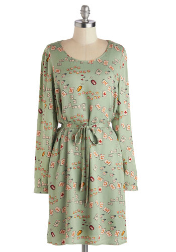 Chance Party Dress by Nice Things - Mid-length, Woven, Green, Multi, Novelty Print, Belted, Casual, A-line, Long Sleeve, Better, International Designer, Scoop