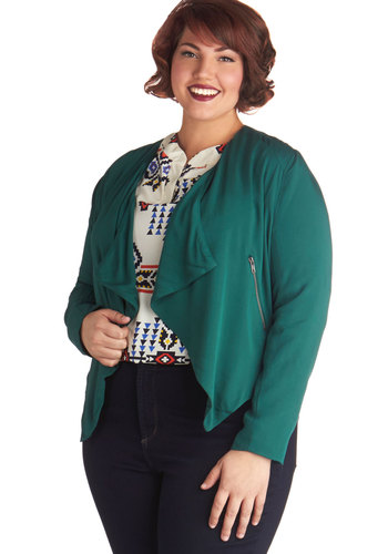 Tricks of the Jade Jacket in Plus Size by BB Dakota - Knit, 1, Green, Solid, Pockets, Casual, Long Sleeve, Fall, Green