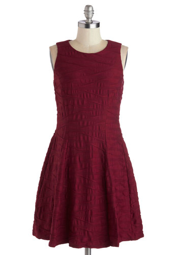 Go With the Workflow Dress - Mid-length, Knit, Red, Solid, Cocktail, A-line, Sleeveless, Better, Work