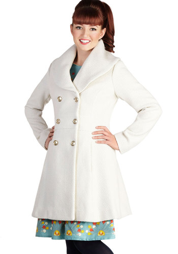 Patron of the Arts Coat - Cream, Solid, Buttons, Pockets, Double Breasted, Long Sleeve, Better, Long, 3, Holiday Party, White