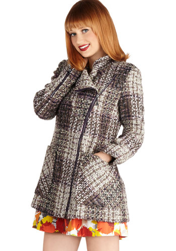 Bouclé of the Land Coat - Brown, Pockets, Long Sleeve, Better, Long, 3, Plaid, Woven, Woven, Multi