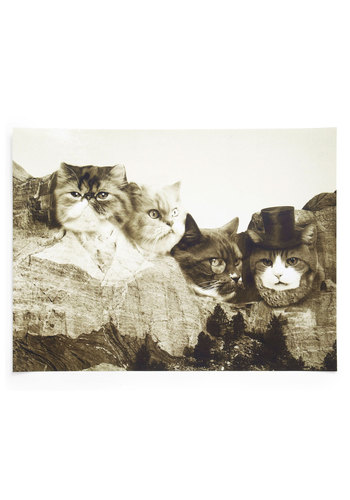 Meow-nt Rushmore Print - Cats, Multi, Dorm Decor, Quirky, Good, Print with Animals, Critters