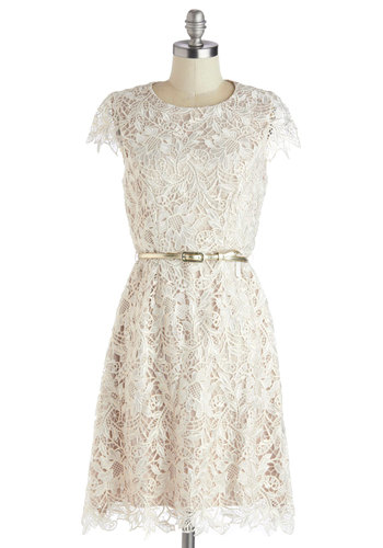 All About Evening Dress - White, Solid, Belted, Party, A-line, Cap Sleeves, Lace, Bride, Wedding, Better, Graduation, Lace