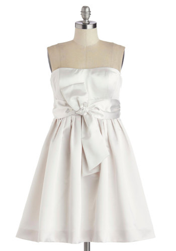 Dreamy Does It Dress - White, Solid, Bows, Pleats, Formal, Prom, Wedding, Bride, Fit & Flare, Strapless, Sweetheart, Best, Mid-length, Satin, Woven
