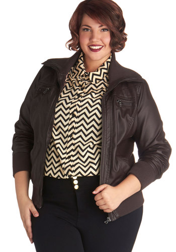 Valley Trail Jacket in Plus Size - Faux Leather, 2, Brown, Solid, Pockets, Casual, Long Sleeve, Fall