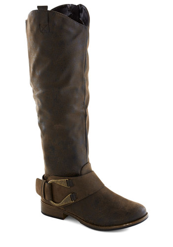 Brownstone Bash Boot - Low, Faux Leather, Brown, Buckles, Better, Casual, Rustic