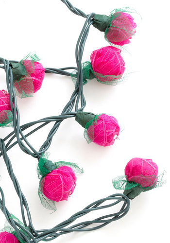 In Rose and Columns String Lights in Magenta - Pink, Wedding, Party, Boho, Dorm Decor, Better, Green, Eco-Friendly, Variation, Valentine's, Spring, Top Rated