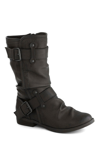 Speed Rumple Boots in Dark Grey - Low, Faux Leather, Grey, Solid, Buckles, Better, Ruching, Casual, Variation