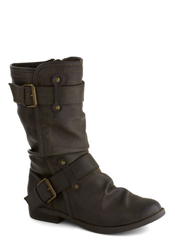 Speed Rumple Boots in Brown - Low, Faux Leather, Brown, Solid, Buckles, Better, Ruching, Casual, Variation