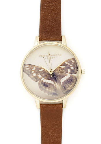 Always Papillon Time Watch by Olivia Burton - Tan, Tan / Cream, Gold, Print with Animals, Casual, Best, Leather