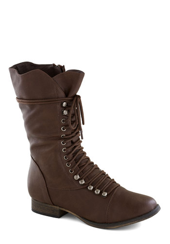 Into the Night Boot in Brown - Low, Faux Leather, Brown, Solid, Steampunk, Good, Lace Up, Casual, Military, 90s, Top Rated, Gifts Sale