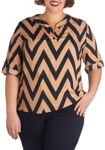 Le Frequency C'est Chic Top in Plus Size - Chiffon, Woven, Tan / Cream, Black, Chevron, Casual, 3/4 Sleeve, Gifts Sale