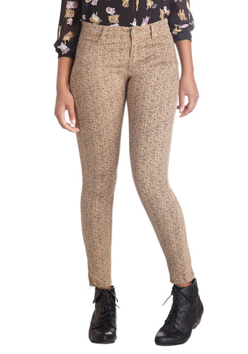 Acoustic Set Pants - Paisley, Casual, Skinny, Cotton, Denim, Woven, Tan, Black, Pockets