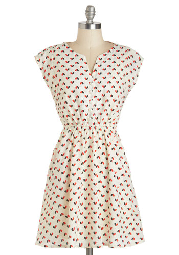 Heart to Beat Dress - Mid-length, Red, Black, Novelty Print, Buttons, Pearls, Pockets, Casual, A-line, Cap Sleeves, White, Valentine's, Gifts Sale