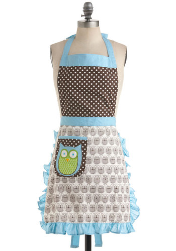 Cooking Owl Day Apron - Multi, Polka Dots, Print with Animals, Casual, Vintage Inspired, Owls, Cotton, Holiday Sale, Best Seller, Best Seller, Good, Top Rated