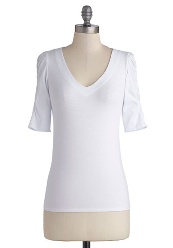A Shirred Thing Top in White - Jersey, Cotton, Knit, Exclusives, White, Solid, Ruching, Casual, Minimal, Short Sleeves, Variation, Basic, V Neck, Mid-length, White, Short Sleeve