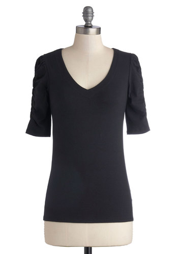 A Shirred Thing Top in Black - Jersey, Cotton, Knit, Black, Solid, Casual, Good, Exclusives, V Neck, Basic, Ruching, Minimal, Variation, Mid-length, Short Sleeves, Black, Short Sleeve