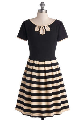 Twirl Next Door Dress in Two-Tone by Dear Creatures - Black, Tan / Cream, Stripes, Cutout, Pleats, Work, Casual, A-line, Short Sleeves, Trim, Twofer, Better, Cotton, Knit, Full-Size Run, Mid-length