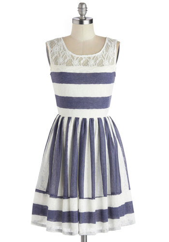 Waterfront Outing Dress - Blue, Stripes, Lace, A-line, Scoop, Nautical, Vintage Inspired, Spring, Mid-length, White, Lace, Daytime Party, Americana