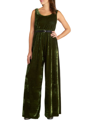 Now and Glen Jumpsuit by Kling - Green, Solid, Belted, Boho, Vintage Inspired, 70s, Luxe, Better, International Designer, Knit, Long, Tank top (2 thick straps), Winter, Scoop