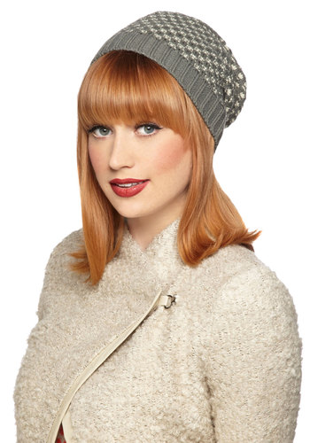 Sister Cities Hat by Tulle Clothing - Grey, Tan / Cream, Knitted, Fall, Winter, Knit, Print