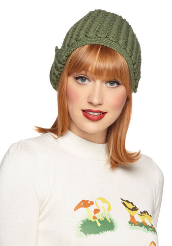 Stage Door Hat in Sage by Tulle Clothing - Green, Tan / Cream, Solid, Buttons, Fall, Winter, Knit, Knitted, Variation