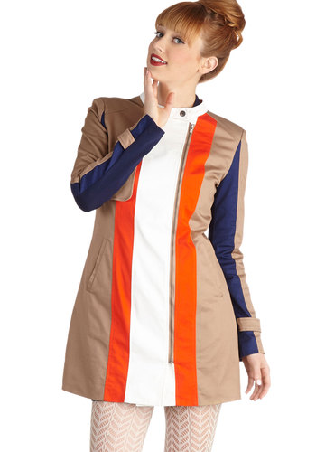 Mainsail Event Coat - Long, 2.5, Tan, Pockets, Nautical, Vintage Inspired, 60s, Mod, Colorblocking, Long Sleeve, Fall, Multi, Top Rated