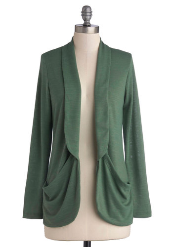 At the Chalkboard Cardigan - Knit, Mid-length, Green, Solid, Pockets, Casual, Good, Work, Scholastic/Collegiate, Minimal, Green, Long Sleeve, Top Rated