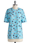 How You Feline? Top - Mid-length, Jersey, Knit, Blue, Print with Animals, Casual, Cats, Short Sleeves, Better, International Designer, Crew, Quirky, Blue, Short Sleeve
