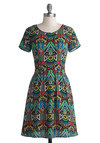 What's Fun is Fun Dress - Multi, Print, Casual, A-line, Short Sleeves, Good, Scoop, Mid-length, Chiffon, Woven, 90s