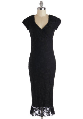 Just Like the Movies Dress in Black - Long, Knit, Black, Solid, Lace, Shift, Cap Sleeves, Better, V Neck, Cocktail, Film Noir, Pinup, Vintage Inspired, 40s, 50s, 20s, 30s, Halloween, LBD