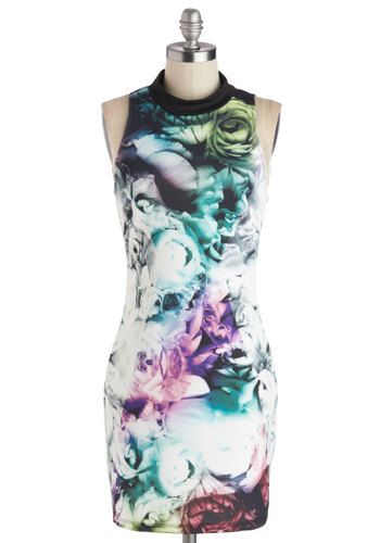 Facet of Your Imagination Dress - Knit, Multi, Floral, Girls Night Out, Bodycon / Bandage, Sleeveless, Good, Party, Short