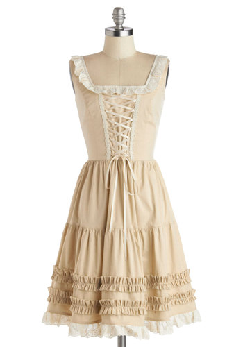Prolonged Farewell Dress - Tan, Solid, Eyelet, Ruffles, Trim, Casual, A-line, Sleeveless, Better, Folk Art, Mid-length, Woven