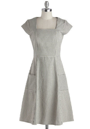 Space Bar Dress in Grey by Mata Traders - Cotton, Woven, Black, White, Stripes, Pockets, Casual, A-line, Cap Sleeves, Better, Long, Eco-Friendly, Show On Featured Sale