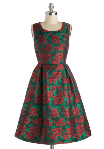 Ornate Celebration Dress by Pink Martini - Red, Green, Floral, Holiday Party, Pleats, Fit & Flare, Sleeveless, Better, Scoop, 50s, Satin, Woven