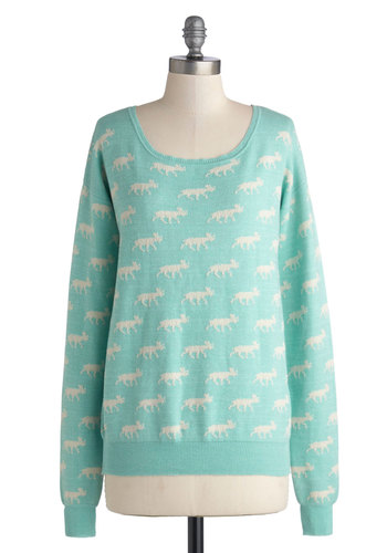 Moose Crossing My Mind Sweater - Mint, White, Print with Animals, Casual, Pastel, Long Sleeve, Knit, Mid-length, Scoop, Blue, Long Sleeve