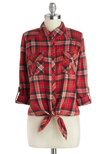 Homemade Maple Syrup Top - Red, Tan / Cream, Black, Long Sleeve, Good, Mid-length, Cotton, Woven, Plaid, Buttons, Pockets, Casual, Rustic, Button Down, Fall, Collared, 90s, Red, Tab Sleeve
