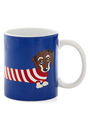A Doggone Good Morning Mug by Louche - Blue, Multi, Quirky, Good, Print with Animals