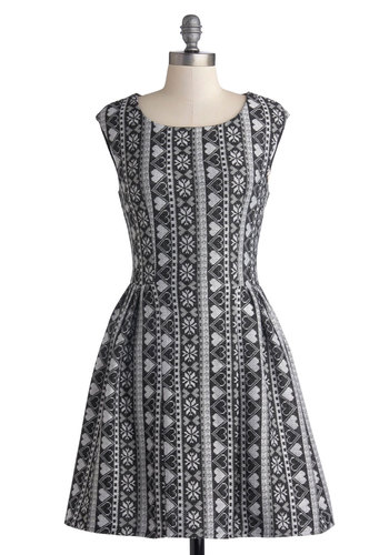 Main Lodge Lovely Dress - Black, Grey, White, Novelty Print, Casual, A-line, Sleeveless, Better, Scoop, Exclusives, Knit, Mid-length, Winter, Valentine's, Holiday
