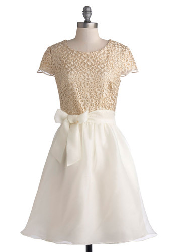 Glimmer and Gold Dress - White, Floral, Belted, Party, Holiday Party, A-line, Twofer, Short Sleeves, Better, Gold, Embroidery, Knit, Woven, Sheer, Mid-length, Wedding, Bride