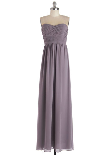 This Sway to the Party Dress in Lilac - Solid, Ruching, Special Occasion, Prom, Wedding, Bridesmaid, Maxi, Strapless, Sweetheart, Pastel, Long, Chiffon, Woven, Purple, Pleats, Party, Full-Size Run