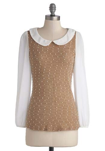 Sugared Waffles Top - Chiffon, Sheer, Knit, Tan, White, Polka Dots, Peter Pan Collar, Work, Vintage Inspired, Long Sleeve, Scoop, Mid-length, Brown, Long Sleeve