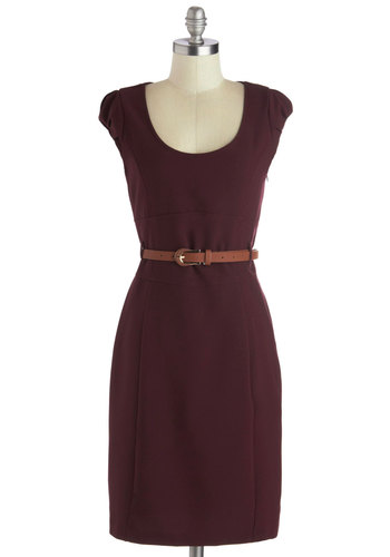 Oh My Posh Dress in Burgundy - Knit, Mid-length, Red, Solid, Belted, Work, Shift, Cap Sleeves, Good, Scoop, Minimal, Variation
