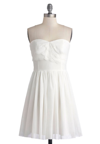I'm Spin Love Dress - White, Solid, Scallops, A-line, Strapless, Mid-length, Knit, Woven, Daytime Party, Graduation, Sweetheart