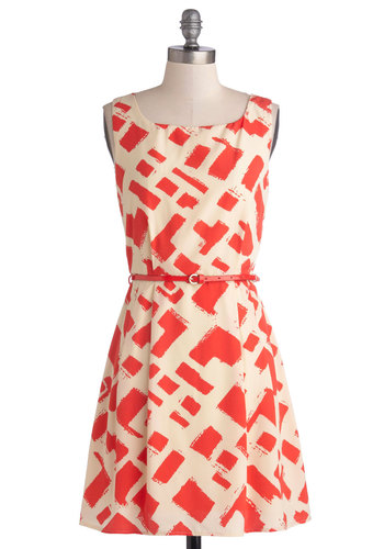 Juice Like That Dress - Short, Woven, Orange, Print, Belted, Party, A-line, Sleeveless, Good, Scoop, Tan / Cream, Daytime Party